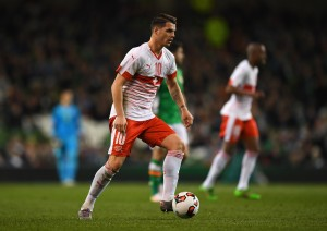 DUBLIN, IRELAND - MARCH 25:  Granit Xhaka of Switzerland in action during the International Friendly match between Republic of Ireland and Switzerland at Aviva Stadium on March 25, 2016 in Dublin, Ireland.  (Photo by Shaun Botterill/Getty Images)