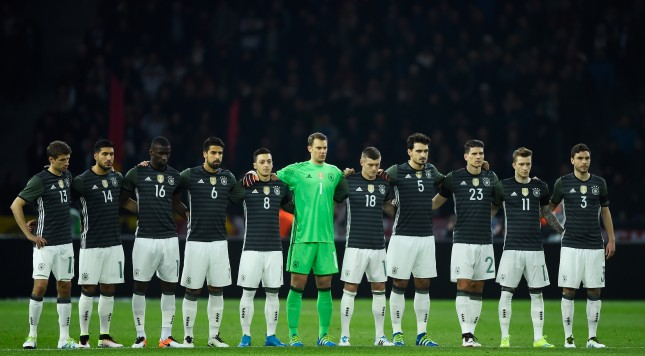 BERLIN, GERMANY - MARCH 26:  Germany players observe a minute of silence for the victims of Brussels terror attacks prior to the International Friendly match between Germany and England at Olympiastadion on March 26, 2016 in Berlin, Germany.  (Photo by Mike Hewitt/Getty Images)