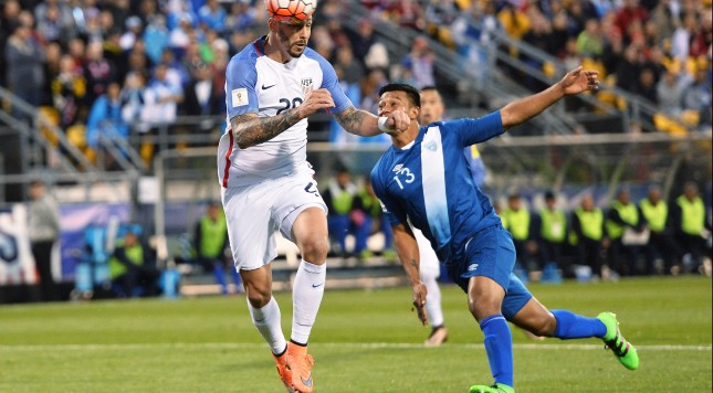COLUMBUS, OH - MARCH 29:  Geoff Cameron #20 of the United States MenÕs National Team heads the ball off a free kick for a goal in front of Carlos Castrillo #13 of Guatemala in the first half during the FIFA 2018  World Cup qualifier on March 29, 2016 at MAPFRE Stadium in Columbus, Ohio.  (Photo by Jamie Sabau/Getty Images)