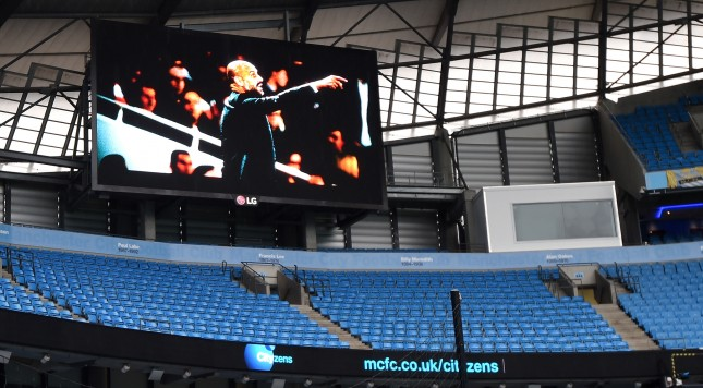 MANCHESTER, ENGLAND - FEBRUARY 06:  Manchester City's incoming manager Pep Guardiola is displayed on the screen prior to the Barclays Premier League match between Manchester City and Leicester City at the Etihad Stadium on February 6, 2016 in Manchester, England.  (Photo by Michael Regan/Getty Images)