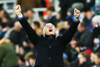 NEWCASTLE, ENGLAND - NOVEMBER 21:  Leicester City  manager Claudio Ranieri celebrates his teams third goal during the Barclays Premier League match between Newcastle and Leicester City at St James Park on November 21, 2015 in Newcastle, England. (Photo by Ian MacNicol/Getty images)