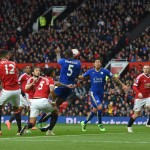 MANCHESTER, ENGLAND - MAY 01:  Wes Morgan of Leicester City scores his team's opening goal during the Barclays Premier League match between Manchester United and Leicester City at Old Trafford on May 1, 2016 in Manchester, England.  (Photo by Michael Regan/Getty Images)
