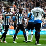 NEWCASTLE UPON TYNE, ENGLAND - MAY 15: Georginio Wijnaldum (C) of Newcastle United celebrates scoring his team's first goal with his team mates Aleksandar Mitrovic (L) and Moussa Sissoko (R) during the Barclays Premier League match between Newcastle United and Tottenham Hotspur at St James' Park on May 15, 2016 in Newcastle, England.  (Photo by Stu Forster/Getty Images)