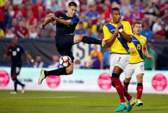 FRISCO, TX - MAY 25:  Clint Dempsey #8 of the United States takes a shot against Frickson Erazo #3 of Ecuador in the second half during an International Friendly match at Toyota Stadium on May 25, 2016 in Frisco, Texas.  (Photo by Tom Pennington/Getty Images)