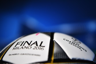 MILAN, ITALY - MAY 27:  In this handout image provided by UEFA General view of match ball during a Atletico de Madrid press conference on the eve of the UEFA Champions League Final against Real Madrid at Stadio Giuseppe Meazza on May 27, 2016 in Milan, Italy.  (Photo by Handout/UEFA via Getty Images)
