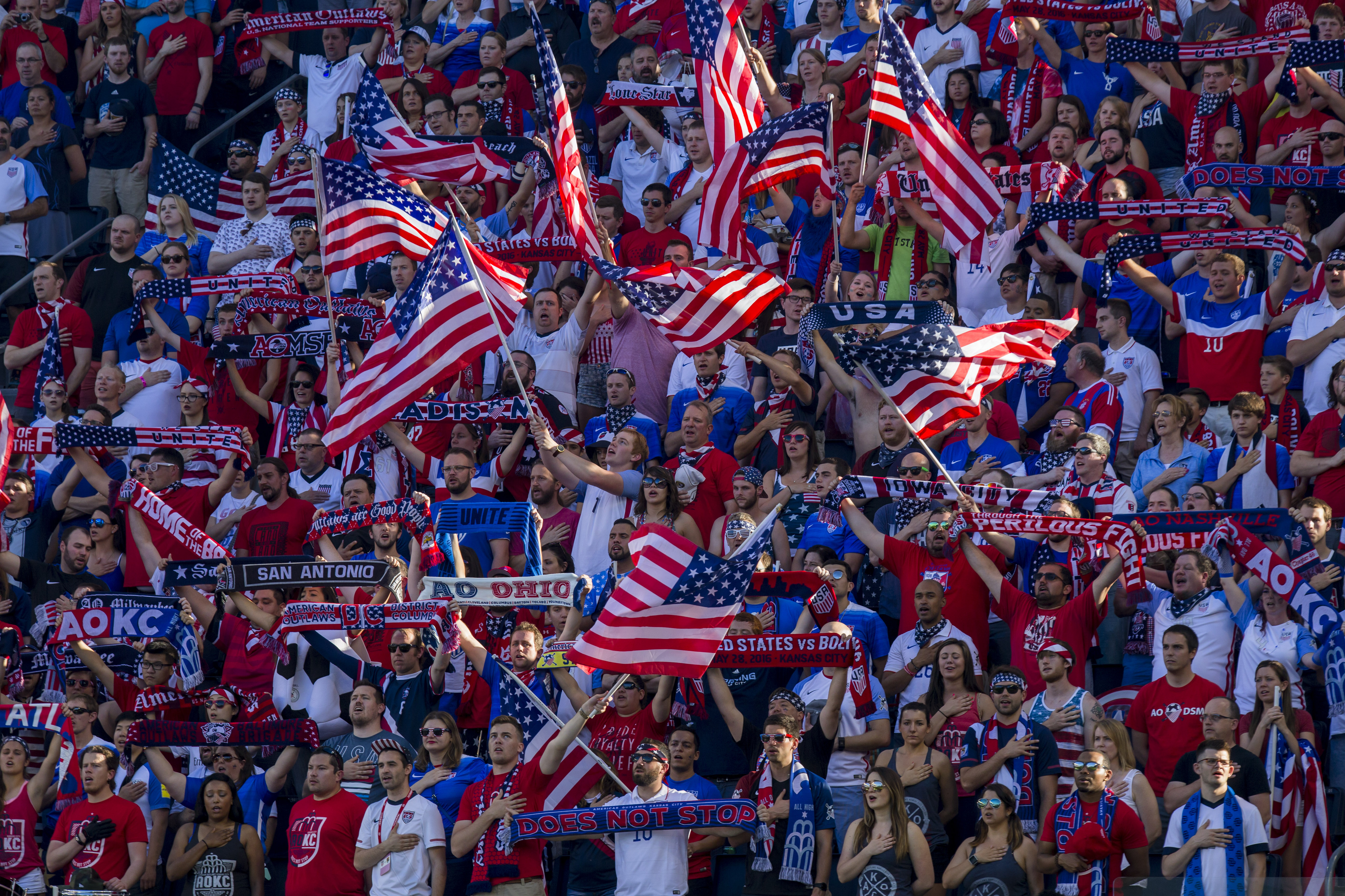 KANSAS CITY, KS - MAY 28: Fans sing the end of the Star Spangled Banner before the international friendly match between Bolivia and United States on May 28, 2016 at Children's Mercy Park in Kansas City, Kansas.  (Photo by Kyle Rivas/Getty Images)