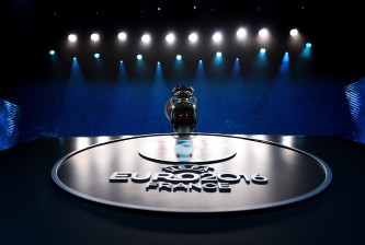 PARIS, FRANCE - DECEMBER 12:  The UEFA European championships Trophy is displayed prior to the UEFA Euro 2016 Final Draw Ceremony at Palais des Congres on December 12, 2015 in Paris, France.  (Photo by Laurence Griffiths/Getty Images)