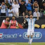 FOXBORO, MA - JUNE 18: Lionel Messi #10 of Argentina celebrates his goal in the second half during the 2016 Copa America Centenario quarterfinal match against Venezuela at Gillette Stadium on June 18, 2016 in Foxboro, Massachusetts. (Photo by Jim Rogash/Getty Images)