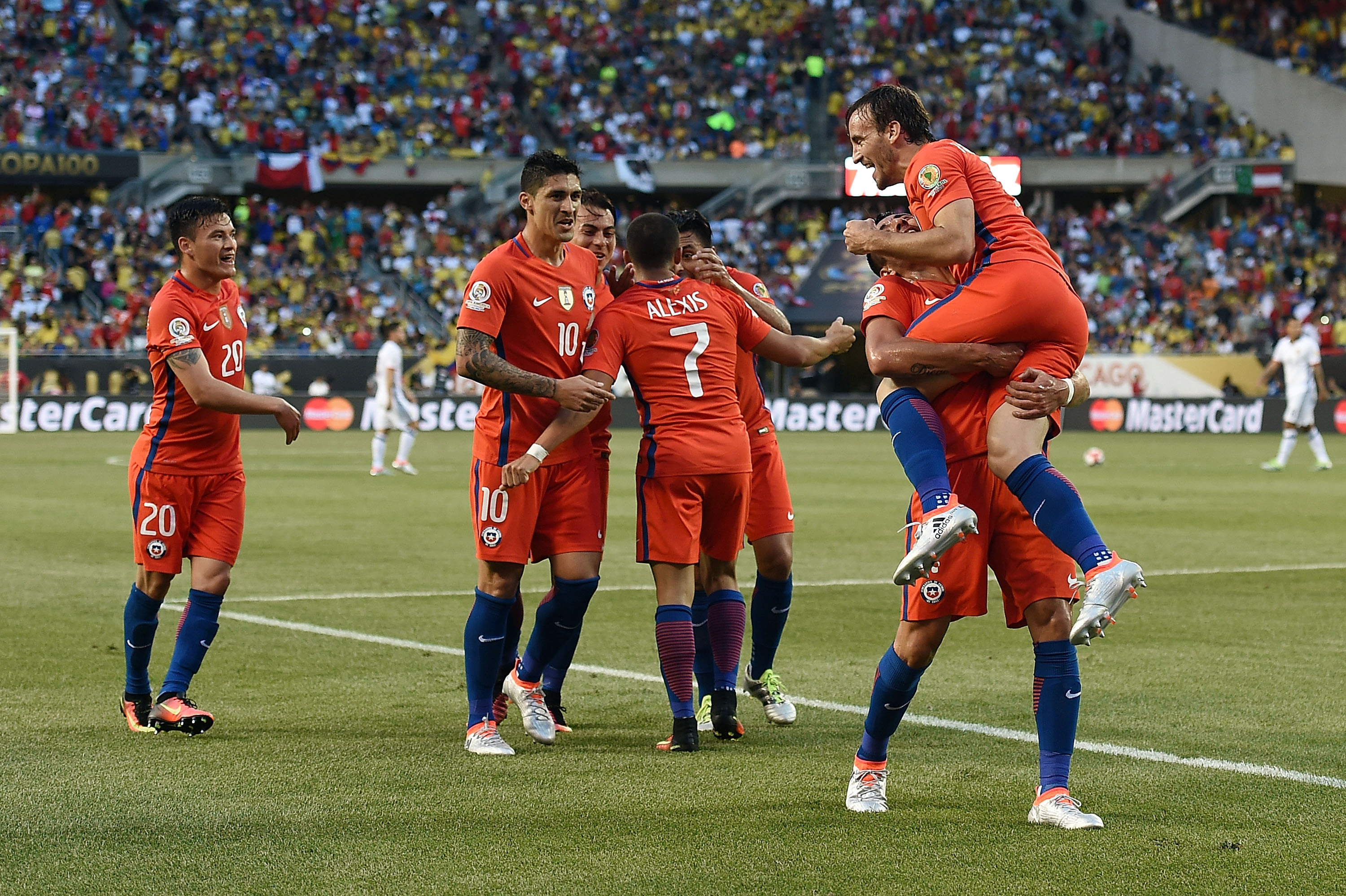 CHICAGO, IL - JUNE 22:  Jose Pedro Fuenzalida #6 of Chile celebrates a goal with teammates in the first half during a 2016 Copa America Centenario Semifinal match against Colombia at Soldier Field on June 22, 2016 in Chicago, Illinois.  (Photo by Stacy Revere/Getty Images)