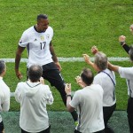 LILLE, FRANCE - JUNE 26:  Jerome Boateng of Germany celebrates scoring his team's first goal with his team staffs during the UEFA EURO 2016 round of 16 match between Germany and Slovakia at Stade Pierre-Mauroy on June 26, 2016 in Lille, France.  (Photo by Matthias Hangst/Getty Images)