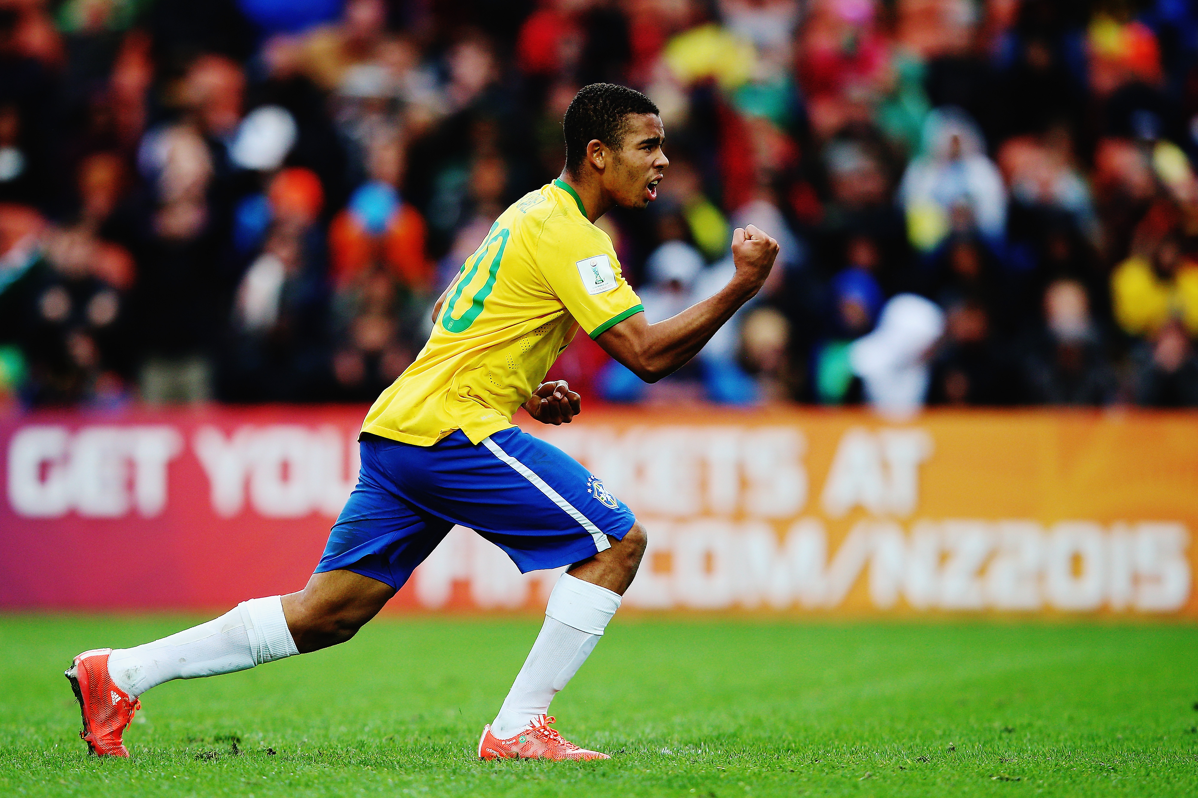 HAMILTON, NEW ZEALAND - JUNE 14:  Gabriel Jesus of Brazil celebrates after scoring a goal during a penalty shoot out during the FIFA U-20 World Cup New Zealand 2015 quarter final match between Brazil and Portugal held at Waikato Stadium on June 14, 2015 in Hamilton, New Zealand.  (Photo by Hannah Peters/Getty Images)