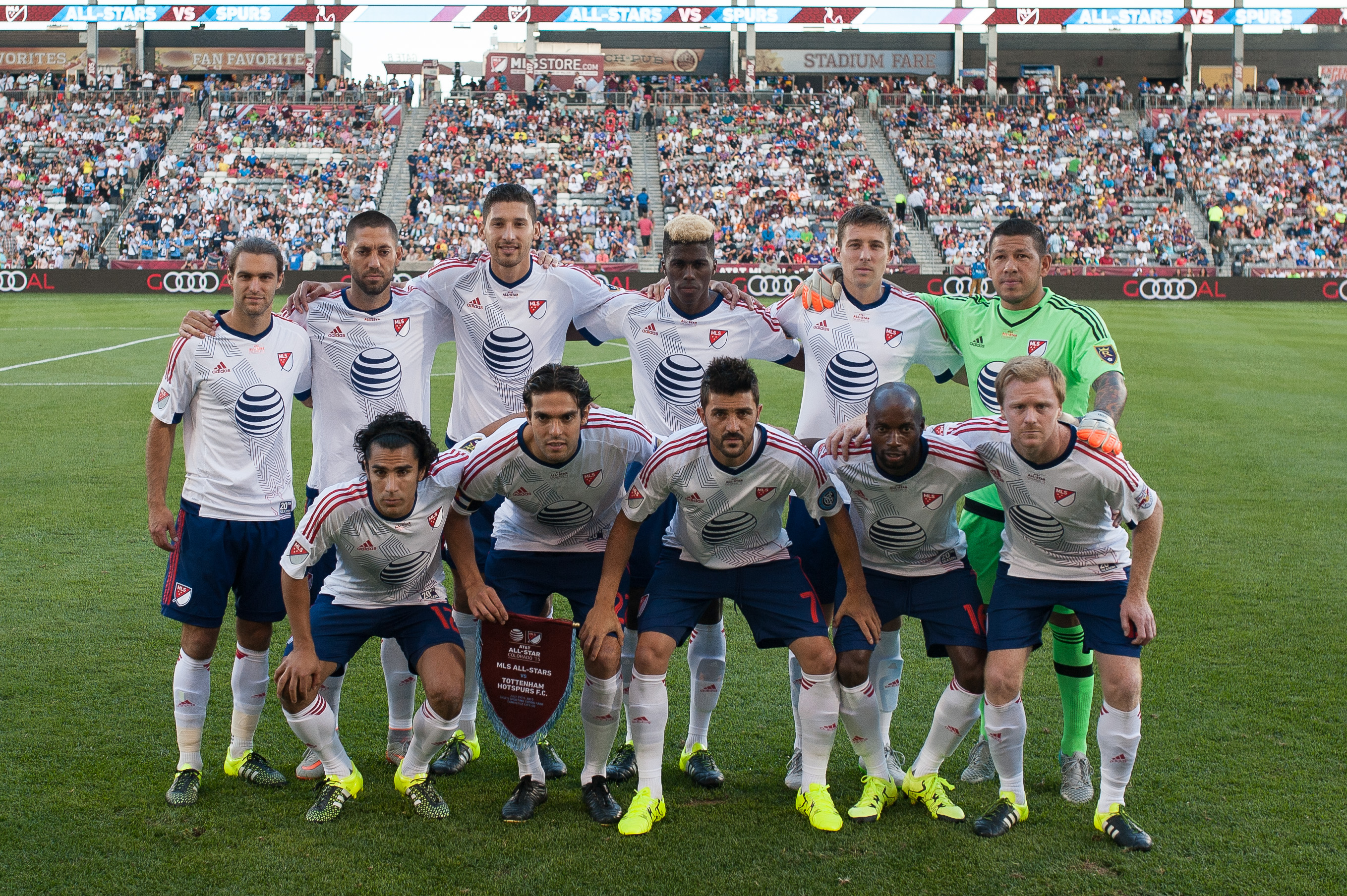 COMMERCE CITY, CO - JULY 29:     MLS All-Stars pose for a group photo before the 2015 AT&T Major League Soccer All-Star game at Dick's Sporting Goods Park on July 29, 2015 in Commerce City, Colorado.  (Photo by Dustin Bradford/Getty Images)