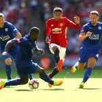 LONDON, ENGLAND - AUGUST 07: Jesse Lingard of Manchester United skips past Wes Morgan of Leicester City during The FA Community Shield match between Leicester City and Manchester United at Wembley Stadium on August 7, 2016 in London, England.  (Photo by Michael Steele/Getty Images)