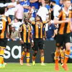 HULL, ENGLAND - AUGUST 13:  Abel Hernandez of Hull City celebrates his sides first goal with his team mates during the Premier League match between Hull City and Leicester City at KCOM Stadium on August 13, 2016 in Hull, England.  (Photo by Alex Morton/Getty Images)