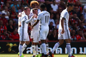 BOURNEMOUTH, ENGLAND - AUGUST 14:  Wayne Rooney of Manchester United celebrates scoring his team's second goal during the Premier League match between AFC Bournemouth and Manchester United at Vitality Stadium on August 14, 2016 in Bournemouth, England.  (Photo by Michael Steele/Getty Images)