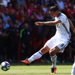BOURNEMOUTH, ENGLAND - AUGUST 14: Zlatan Ibrahimovic of Manchester United scores his team's third goal during the Premier League match between AFC Bournemouth and Manchester United at Vitality Stadium on August 14, 2016 in Bournemouth, England.  (Photo by Michael Steele/Getty Images)