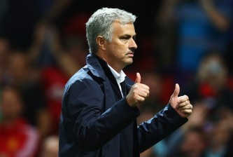 MANCHESTER, ENGLAND - AUGUST 19:  Jose Mourinho, Manager of Manchester United gives the thumbs up after the Premier League match between Manchester United and Southampton at Old Trafford on August 19, 2016 in Manchester, England.  (Photo by Michael Steele/Getty Images)