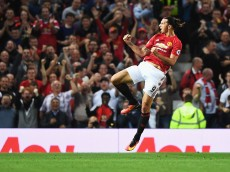 MANCHESTER, ENGLAND - AUGUST 19:  Zlatan Ibrahimovic of Manchester United celebrates scoring the opening goal during the Premier League match between Manchester United and Southampton at Old Trafford on August 19, 2016 in Manchester, England.  (Photo by Michael Regan/Getty Images)