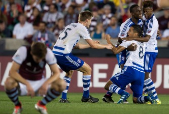 COMMERCE CITY, CO - JULY 23: FC Dallas players, including Walker Zimmerman #25, Kellyn Acosta #23, and Maynor Figueroa #31, celebrate a second half goal scored by Victor Ulloa #8 against the Colorado Rapids at Dick's Sporting Goods Park on July 23, 2016 in Commerce City, Colorado. (Photo by Dustin Bradford/Getty Images)