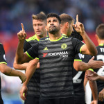 SWANSEA, WALES - SEPTEMBER 11:  Diego Costa of Chelsea (C) celebrates with team mates as he scores their first goal during the Premier League match between Swansea City and Chelsea at Liberty Stadium on September 11, 2016 in Swansea, Wales.  (Photo by Stu Forster/Getty Images)
