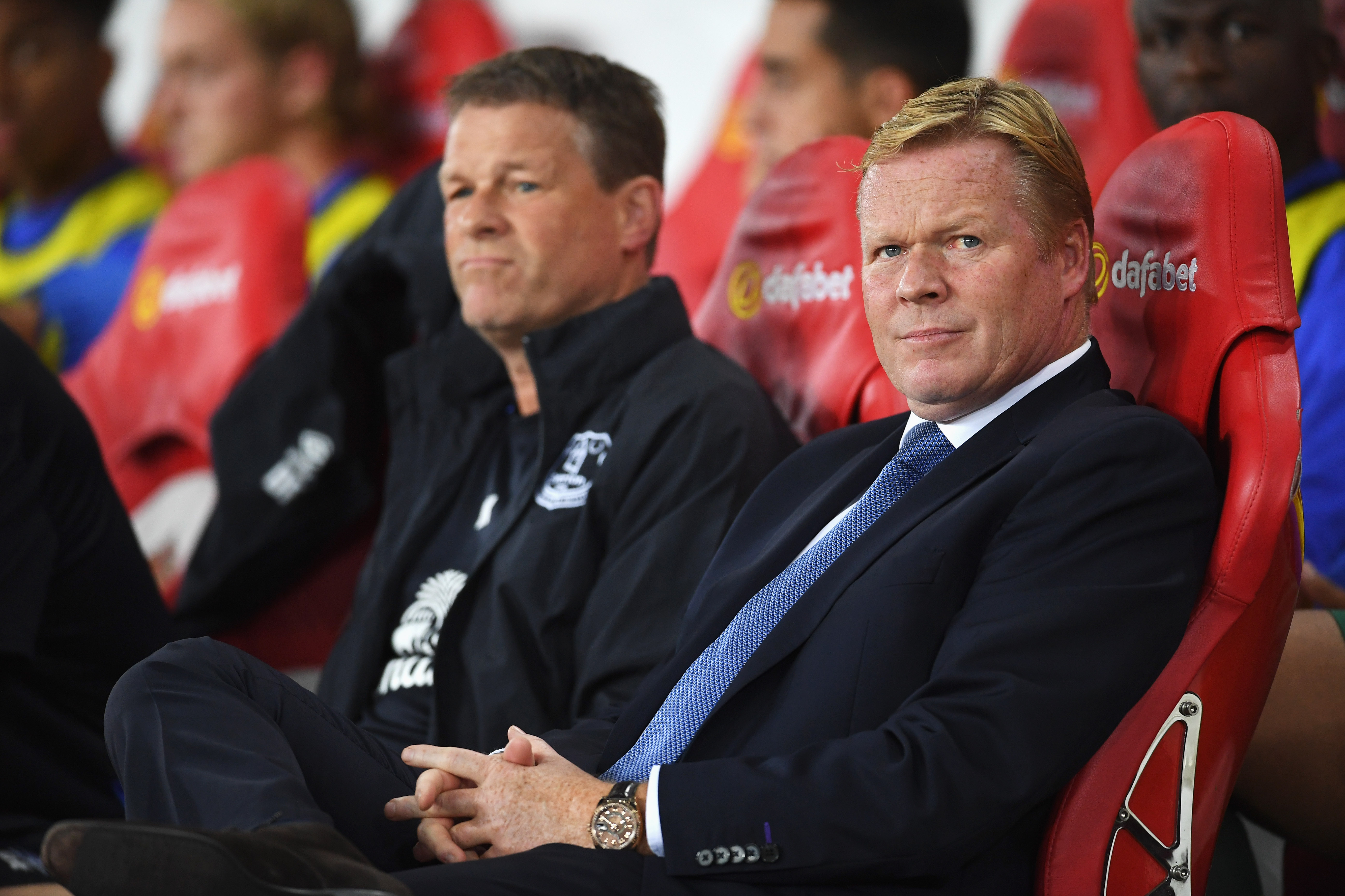 SUNDERLAND, ENGLAND - SEPTEMBER 12:  Ronald Koeman manager of Everton and assistant Erwin Koeman look on prior to the Premier League match between Sunderland and Everton at Stadium of Light on September 12, 2016 in Sunderland, England.  (Photo by Laurence Griffiths/Getty Images)