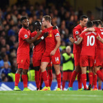 LONDON, ENGLAND - SEPTEMBER 16:  Jordan Henderson of Liverpool (14) celebrates with team mates as he  scores their second goal during the Premier League match between Chelsea and Liverpool at Stamford Bridge on September 16, 2016 in London, England.  (Photo by Shaun Botterill/Getty Images)