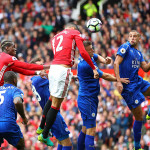MANCHESTER, ENGLAND - SEPTEMBER 24: Chris Smalling of Manchester United scores his sides first goal  during the Premier League match between Manchester United and Leicester City at Old Trafford on September 24, 2016 in Manchester, England.  (Photo by Clive Brunskill/Getty Images)
