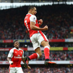 LONDON, ENGLAND - SEPTEMBER 24:  Alexis Sanchez of Arsenal celebrates scoring his sides first goal during the Premier League match between Arsenal and Chelsea at the Emirates Stadium on September 24, 2016 in London, England.  (Photo by Paul Gilham/Getty Images)