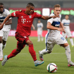 SHANGHAI, CHINA - JULY 21:  Douglas Costa (L) of FC Bayern Muenchen challenges federico Dimarco of FC Internazionale during the international friendly match between FC Bayern Muenchen and Inter Milan of the Audi Football Summit 2015 at Shanghai Stadium on July 21, 2015 in Shanghai, China.  (Photo by Lintao Zhang/Getty Images)