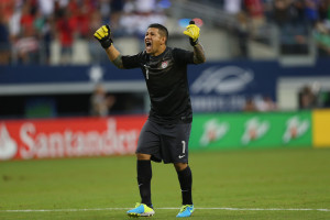 ARLINGTON, TX - JULY 24:  Goalkeeper Nick Rimando of the United States celebrates a goal by Eddie Johnson against Honduras during the CONCACAF Gold Cup semifinal match at Cowboys Stadium on July 24, 2013 in Arlington, Texas.  (Photo by Ronald Martinez/Getty Images)