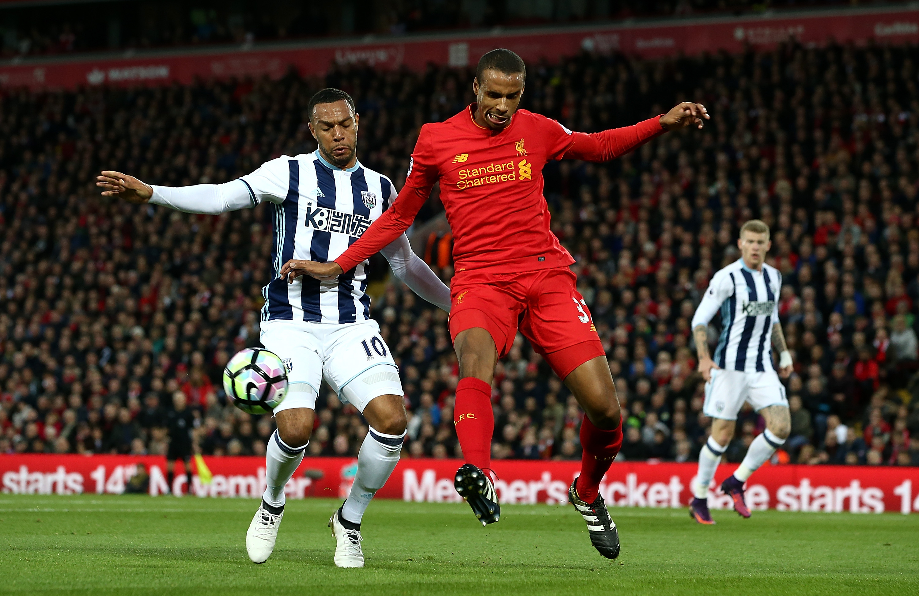 LIVERPOOL, ENGLAND - OCTOBER 22:  Joel Matip of Liverpool competes with Matt Phillips of West Bromwich Albion during the Premier League match between Liverpool and West Bromwich Albion at Anfield on October 22, 2016 in Liverpool, England.  (Photo by Jan Kruger/Getty Images)
