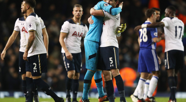 LONDON, ENGLAND - JANUARY 04: Hugo Lloris of Tottenham Hotspur and Jan Vertonghen of Tottenham Hotspur embrace after the Premier League match between Tottenham Hotspur and Chelsea at White Hart Lane on January 4, 2017 in London, England.  (Photo by Clive Rose/Getty Images)