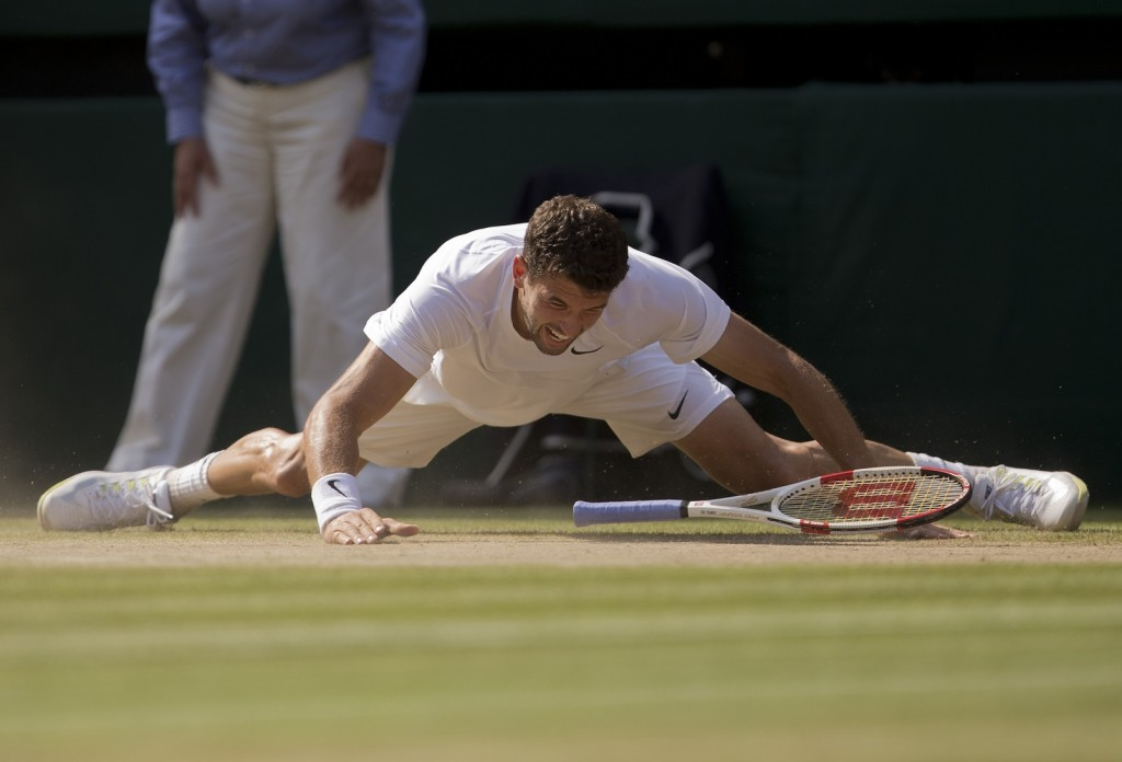 Grigor Dimitrov couldn't find his footing -- not in a literal sense, and not when the weight of the moment acquired its greatest proportions in an emotional cocktail of a Wimbledon semifinal on Friday.