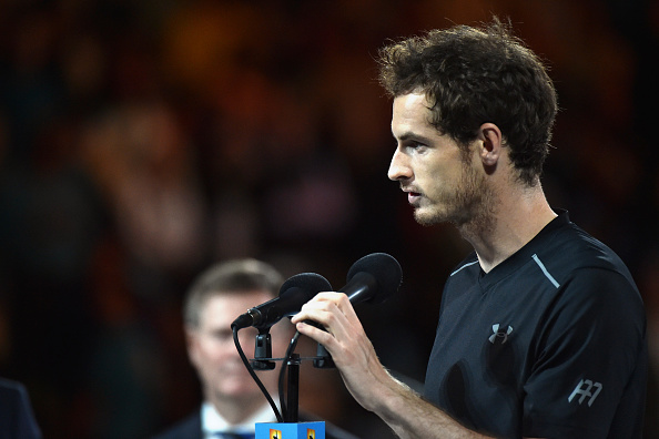 Britain's Andy Murray speaks before being presented with the runner's up trophy after he was defeated by Serbia's Novak Djokovic in their men's singles final match on day fourteen of the 2016 Australian Open tennis tournament in Melbourne on January 31, 2016.
