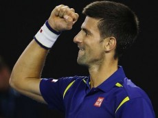 MELBOURNE, AUSTRALIA - JANUARY 28:  Novak Djokovic of Serbia celebrates match point in his semi final match against Roger Federer of Switzerland during day 11 of the 2016 Australian Open at Melbourne Park on January 28, 2016 in Melbourne, Australia.  (Photo by Michael Dodge/Getty Images)