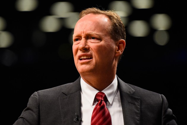 NEW YORK, NY - APRIL 25: Head coach Mike Budenholzer of the Atlanta Hawks looks on during the first round of the 2015 NBA Playoffs against the Brooklyn Nets at Barclays Center on April 25, 2015 in the Brooklyn borough of New York City. NOTE TO USER: User expressly acknowledges and agrees that, by downloading and/or using this photograph, user is consenting to the terms and conditions of the Getty Images License Agreement.  (Photo by Alex Goodlett/Getty Images)