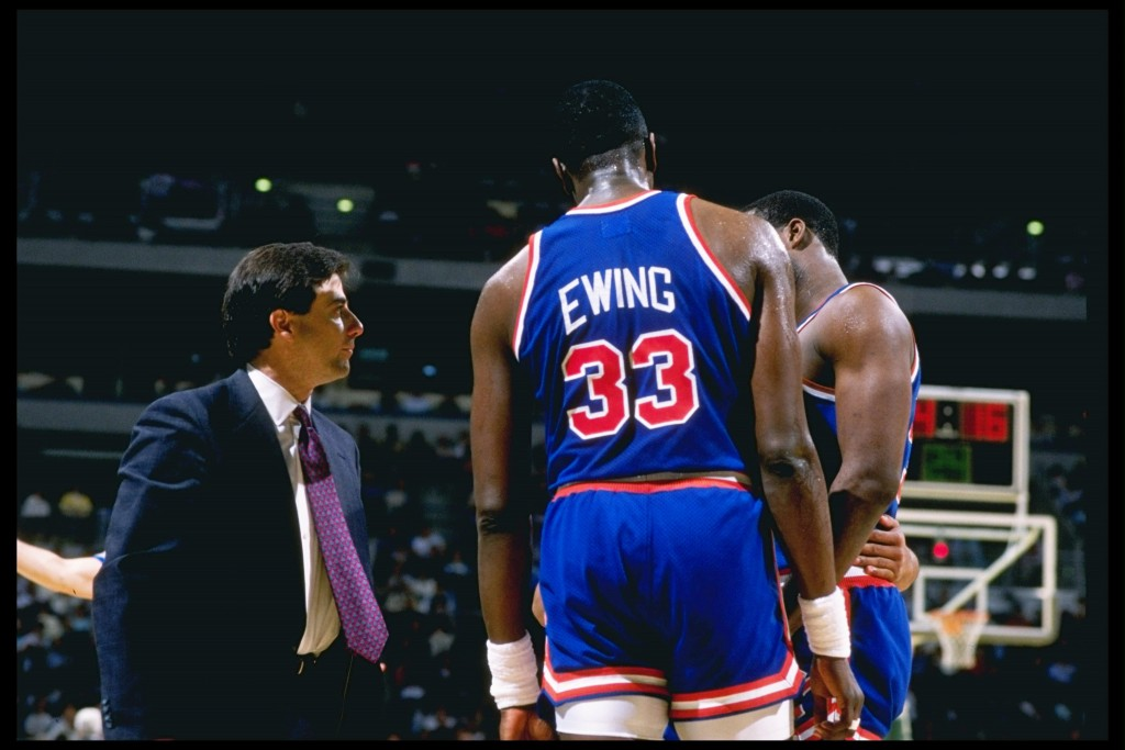 1989:  Head coach Rick Pitino of the New York Knicks talks to Patrick Ewing #33 during a Knicks versus Milwaukee Bucks game at the Bradley Center in Milwaukee, Wisconsin.    Mandatory Credit: Jonathan Daniel  /Allsport