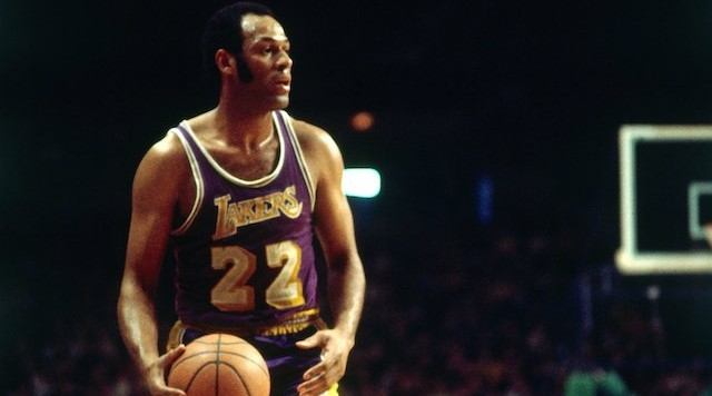 MILWAUKEE - 1970:  Elgin Baylor #22 of the Los Angeles Lakers moves the ball up court against the Milwaukee Bucks during the 1970 season at the MECCA Arena in Milwaukee, Wisconsin. NOTE TO USER: User expressly acknowledges that, by downloading and or using this photograph, User is consenting to the terms and conditions of the Getty Images License agreement. Mandatory Copyright Notice: Copyright 1970 NBAE (Photo by Vernon Biever/NBAE via Getty Images)