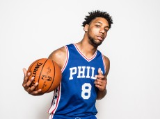 TARRYTOWN, NY - AUGUST 08: Jahlil Okafor #8 of the Philadelphia 76ers poses for a portrait during the 2015 NBA rookie photo shoot on August 8, 2015 at the Madison Square Garden Training Facility in Tarrytown, New York. NOTE TO USER: User expressly acknowledges and agrees that, by downloading and or using this photograph, User is consenting to the terms and conditions of the Getty Images License Agreement. (Photo by Nick Laham/Getty Images)