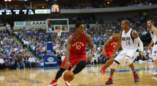 DALLAS, TX - NOVEMBER 03:  DeMar DeRozan #10 of the Toronto Raptors at American Airlines Center on November 3, 2015 in Dallas, Texas.  NOTE TO USER:  User expressly acknowledges and agrees that, by downloading and or using photograph, User is consenting to the terms and conditions of the Getty Images License Agreement.  (Photo by Ronald Martinez/Getty Images)