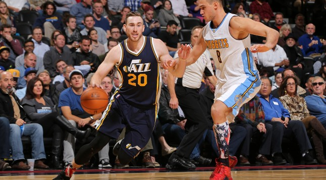 at Pepsi Center on November 5, 2015 in Denver, Colorado. The Jazz defeated the Nuggets 96-84. NOTE TO USER: User expressly acknowledges and agrees that, by downloading and or using this photograph, User is consenting to the terms and conditions of the Getty Images License Agreement.