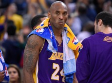 OAKLAND, CA - NOVEMBER 24:  Kobe Bryant #24 of the Los Angeles Lakers looks on while there's a break during the game against against the Golden State Warriors at ORACLE Arena on November 24, 2015 in Oakland, California. NOTE TO USER: User expressly acknowledges and agrees that, by downloading and or using this photograph, User is consenting to the terms and conditions of the Getty Images License Agreement.  (Photo by Thearon W. Henderson/Getty Images)