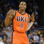 Nov 15, 2015; Oklahoma City, OK, USA; Oklahoma City Thunder guard Russell Westbrook (0) reacts after making a 3 point shot against the Boston Celtics during the first quarter at Chesapeake Energy Arena. Mandatory Credit: Mark D. Smith-USA TODAY Sports