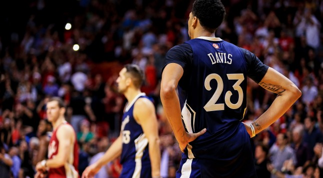 MIAMI, FL - DECEMBER 25:  Anthony Davis #23 of the New Orleans Pelicans reacts during the game against the Miami Heat at American Airlines Arena on December 25, 2015 in Miami, Florida.  NOTE TO USER: User expressly acknowledges and agrees that, by downloading and or using this photograph, User is consenting to the terms and conditions of the Getty Images License Agreement. (Photo by Rob Foldy/Getty Images)