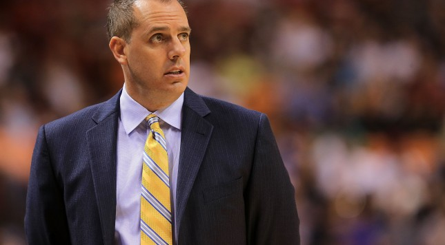 MIAMI, FL - JANUARY 04:  Head coach Frank Vogel of the Indiana Pacers looks on during a game against the Miami Heat at American Airlines Arena on January 4, 2016 in Miami, Florida. NOTE TO USER: User expressly acknowledges and agrees that, by downloading and/or using this photograph, user is consenting to the terms and conditions of the Getty Images License Agreement. Mandatory copyright notice:  (Photo by Mike Ehrmann/Getty Images)