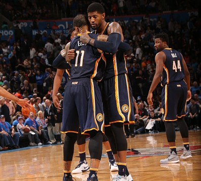 OKLAHOMA CITY, OK - FEBRUARY 19:  The Indiana Pacers celebrate after the game against the Oklahoma City Thunder on February 19, 2016 at Chesapeake Energy Arena in Oklahoma City, Oklahoma. NOTE TO USER: User expressly acknowledges and agrees that, by downloading and or using this photograph, User is consenting to the terms and conditions of the Getty Images License Agreement. Mandatory Copyright Notice: Copyright 2016 NBAE (Photo by Layne Murdoch/NBAE via Getty Images)'