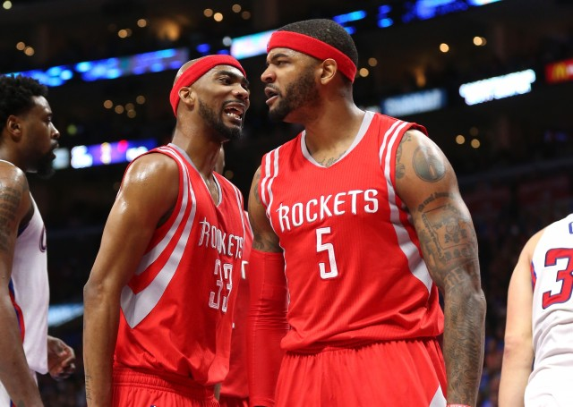 LOS ANGELES, CA - MAY 14: Josh Smith #5 and Corey Brewer #33 of the Houston Rockets celebrates after Smith blocked a shot by Blake Griffin #32 of the Los Angeles Clippers in the fourth quarter during Game Six of the Western Conference semifinals of the 2015 NBA Playoffs at Staples Center on May 14, 2015 in Los Angeles, California.  The Rockets won 119-107.   NOTE TO USER: User expressly acknowledges and agrees that, by downloading and or using this photograph, User is consenting to the terms and conditions of the Getty Images License Agreement.  (Photo by Stephen Dunn/Getty Images)