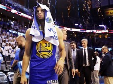 OKLAHOMA CITY, OK - MAY 22: Stephen Curry #30 of the Golden State Warriors reacts to their 133 to 105 loss against the Oklahoma City Thunder in game three of the Western Conference Finals during the 2016 NBA Playoffs at Chesapeake Energy Arena on May 22, 2016 in Oklahoma City, Oklahoma. (Photo by Ronald Martinez/Getty Images)