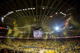 May 26, 2016; Oakland, CA, USA; A general view of Oracle Arena after the Golden State Warriors win game five of the Western conference finals of the NBA Playoffs against the Oklahoma City Thunder. The Warriors won 120-111. Mandatory Credit: Kelley L Cox-USA TODAY Sports