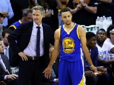 CLEVELAND, OH - JUNE 16: Steve Kerr of the Golden State Warriors and Stephen Curry #30 react in the second half against the Cleveland Cavaliers in Game 6 of the 2016 NBA Finals at Quicken Loans Arena on June 16, 2016 in Cleveland, Ohio. NOTE TO USER: User expressly acknowledges and agrees that, by downloading and or using this photograph, User is consenting to the terms and conditions of the Getty Images License Agreement.  (Photo by Ezra Shaw/Getty Images)